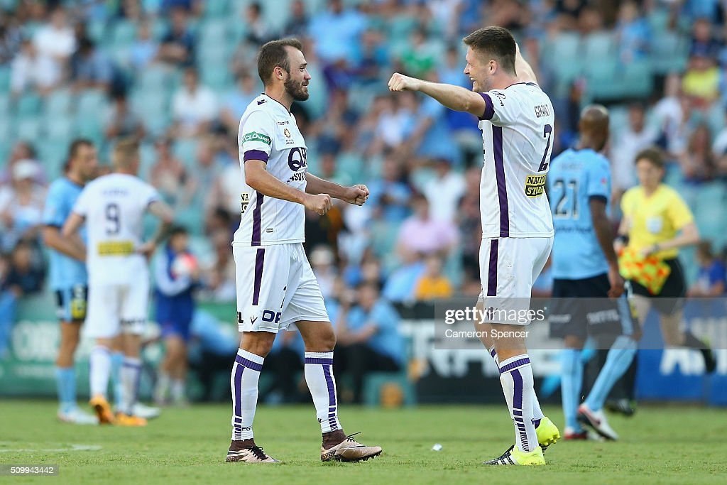 Gyorgy Sandor of the Glory and Alexander Grant of the Glory celebrate winning the round 19 A-League match between Sydney FC and the Perth Glory at Allianz Stadium on February 13, 2016 in Sydney, Australia.