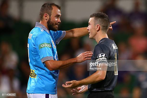 Gyorgy Sandor of the Glory and Matthew McKay of the Roar exchange words during the round 20 ALeague match between the Perth Glory and Brisbane Roar...