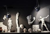Collection of gypsum figures in studio of art