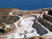 Panorama of gypsum quarry on Crete island. Open quarry is located at Altsi in Sitia municipality and operated following method of exposed vertical benches.