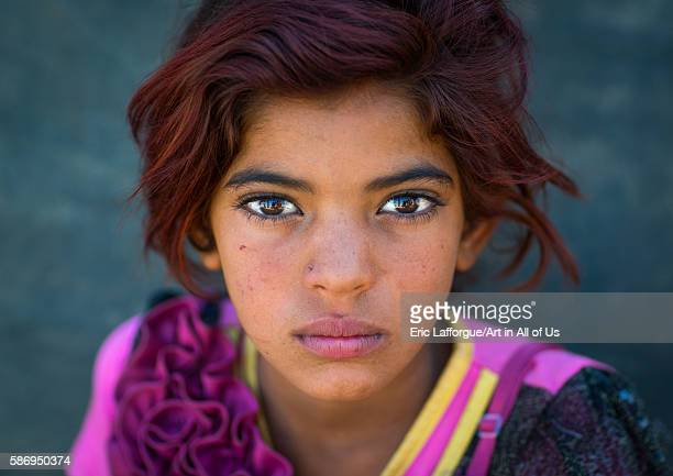 Gypsy girl with red hair central county kerman Iran on January 1 2016 in Kerman Iran