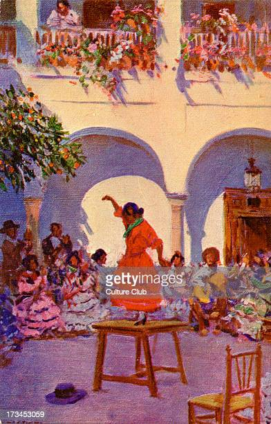 Gypsy party Shows gypsy woman dancing on a table while others sit nearby playing music Illustration by Mariano Bertuchi Spanish artist 6 February...