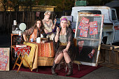 Gypsy travellers with truck and table outside