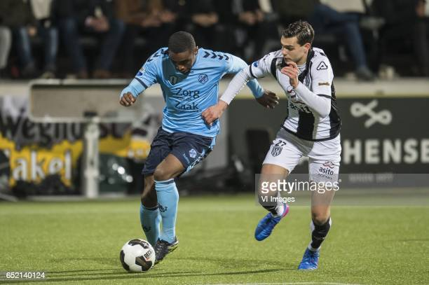Gyrano Kerk of FC Utrecht Justin Hoogma of Heracles Almeloduring the Dutch Eredivisie match between Heracles Almelo and FC Utrecht at Polman stadium...