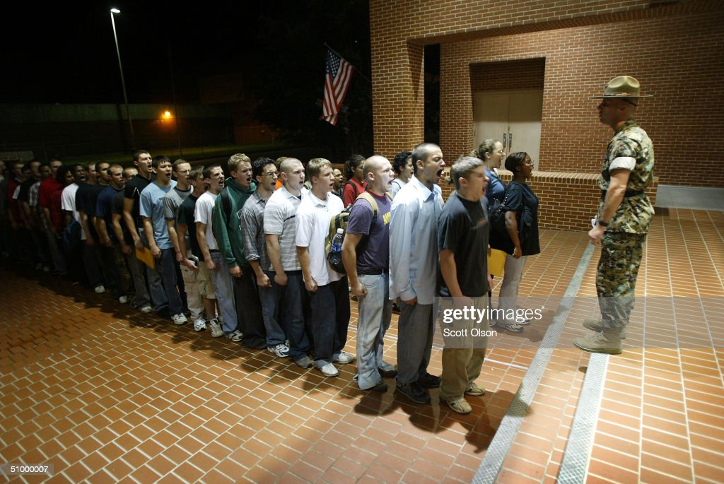 GySgt Lon Stedman greets new arrivals at the United States Marine Corps Recruit Depot June 22 2004 in Parris Island South Carolina Marine Corps boot...