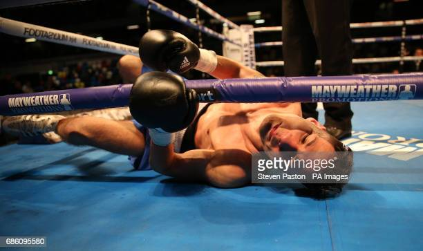 Gyula Dodu is knocked down by Sunny Edwards in the Flyweight Contest at The Copper Box London PRESS ASSOCIATION Photo Picture date Saturday May 20...