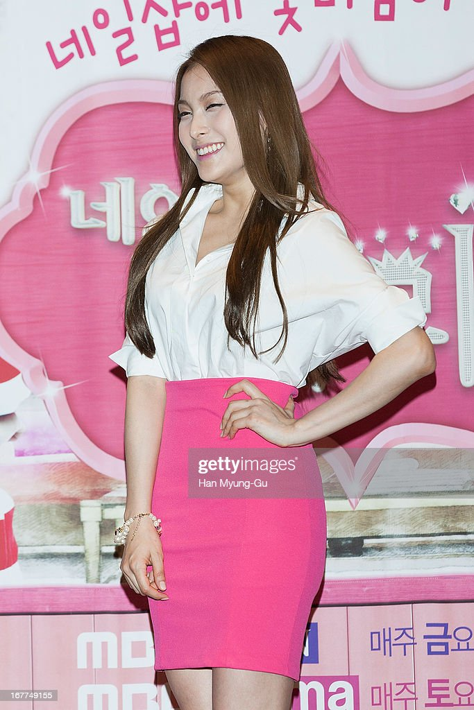 Gyuri of South Korean pop group Kara attends the MBC QueeN drama 'Nail Shop Paris' Press Conferencce at IFC Mall CGV on April 26, 2013 in Seoul, South Korea. The drama will open on May 03 in South Korea.