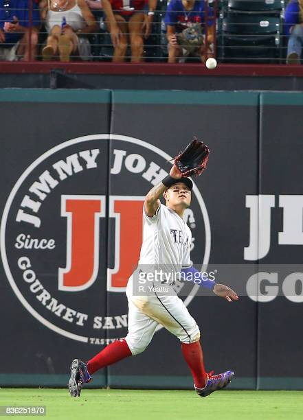 h ShinSoo Choo of the Texas Rangers makes a running catch in the seventh inning against the Chicago White Sox at Globe Life Park in Arlington on...