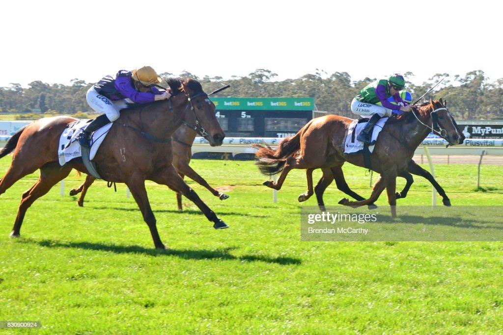 /h1/ ridden by /j1/ wins the /r1/ at Bendigo Racecourse on August 13, 2017 in Bendigo, Australia.
