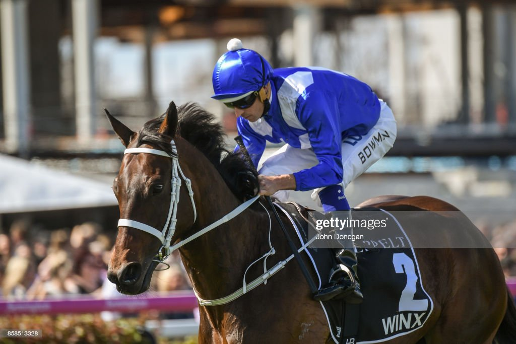 /h2/ ridden by /j2/ before the /r5/ at Caulfield Racecourse on October 07, 2017 in Caulfield, Australia.
