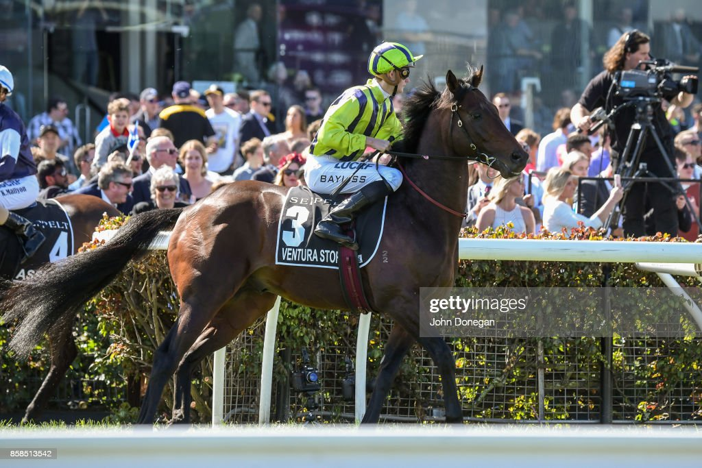 /h3/ ridden by /j3/ before the /r5/ at Caulfield Racecourse on October 07, 2017 in Caulfield, Australia.