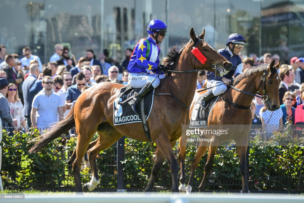 /h5/ ridden by /j5/ before the /r5/ at Caulfield Racecourse on October 07, 2017 in Caulfield, Australia.