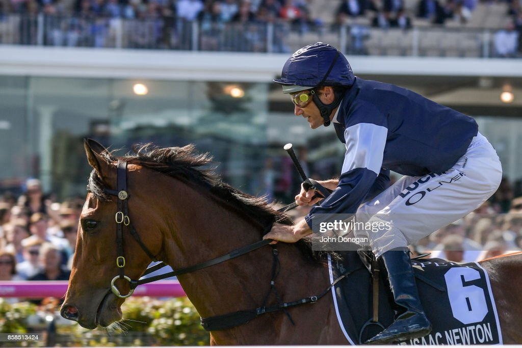 /h6/ ridden by /j6/ before the /r5/ at Caulfield Racecourse on October 07, 2017 in Caulfield, Australia.