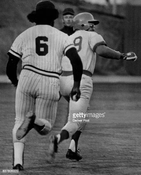 MAY 2 1975 MAY 7 1975 'Ha Ha Betcha Can't Catch Me' Denver first baseman Lamar Johnson sets out to run down Wichitd's Jim Tyrone after Bear pitcher...