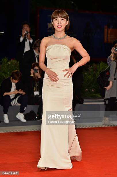 Ha JiWon walks the red carpet ahead of the 'Manhunt ' screening during the 74th Venice Film Festival at Sala Darsena on September 8 2017 in Venice...