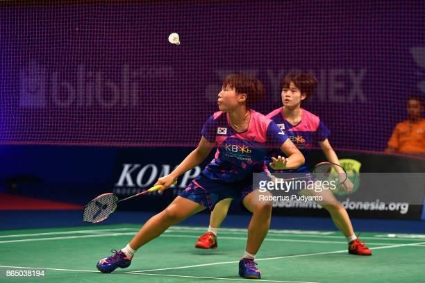 Ha Na Baek and Lee Yu Rim of Korea compete against Jauza Fadhila Sugiarto and Ribka Sugiarto of Indonesia during Women's Doubles Final match of the...