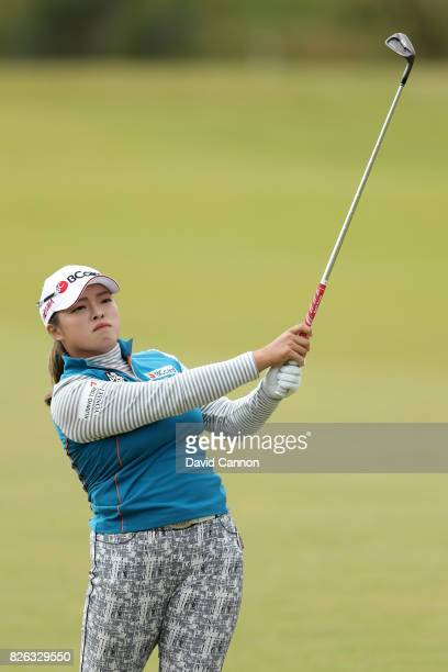 Ha Na Jang of Korea hits her second shot on the 18th hole during the second round of the Ricoh Women's British Open at Kingsbarns Golf Links on...