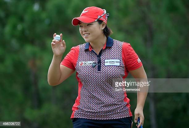Ha Na Jang of South Korea acknowledges the crowd on the 9th hole hole during the third round of the CME Group Tour Championship at Tiburon Golf Club...