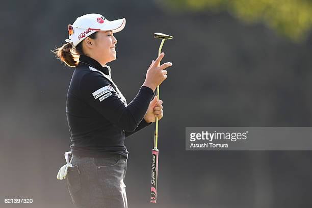 Ha Na Jang of South Korea celebrates after making her birdie putt on the 16th hole during the final round of the TOTO Japan Classics 2016 at the...