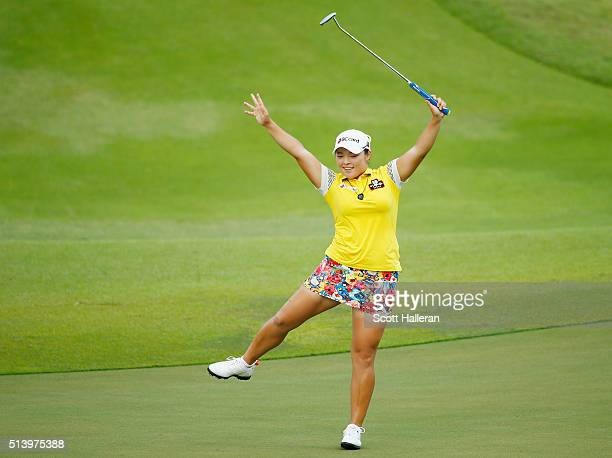 Ha Na Jang of South Korea celebrates an eagle on the 18th hole on her way to winning the tournament during the final round of the HSBC Women's...