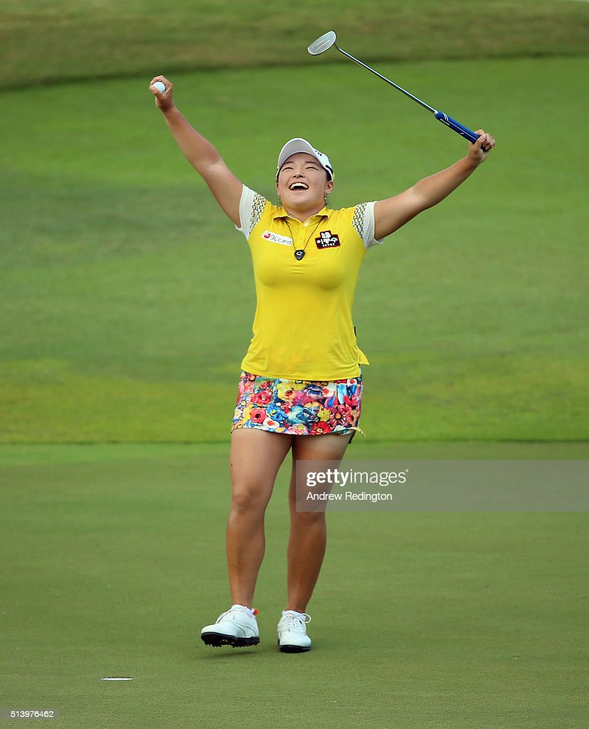 Ha Na Jang of South Korea celebrates her eagle on the 18th hole on her way to winning the tournament during the final round of the HSBC Women's...