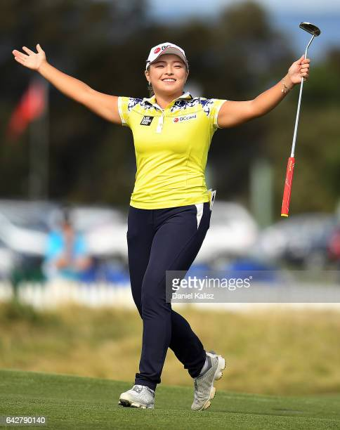 Ha Na Jang of South Korea celebrates on the 18th hole after winning the ISPS Handa Women's Australian during round four of the ISPS Handa Women's...