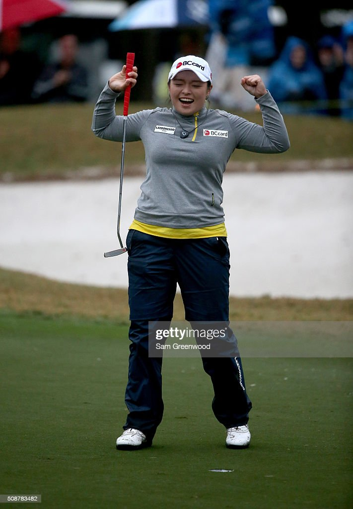 <a gi-track='captionPersonalityLinkClicked' href=/galleries/search?phrase=Ha+Na+Jang&family=editorial&specificpeople=11711075 ng-click='$event.stopPropagation()'>Ha Na Jang</a> of South Korea celebrates winning the Coates Golf Championship Presented By R+L Carriers at Golden Ocala Golf Club on February 6, 2016 in Ocala, Florida.