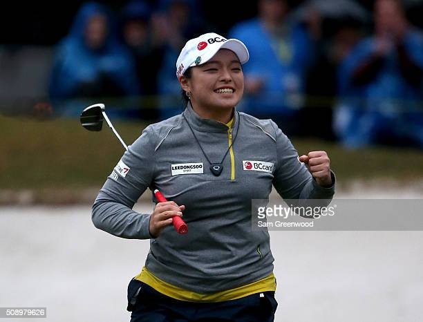 Ha Na Jang of South Korea celebrates winning the Coates Golf Championship Presented By RL Carriers at Golden Ocala Golf Club on February 6 2016 in...