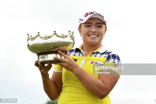 Ha Na Jang of South Korea celebrates with her trophy after winning the Women's Australian Open during round four of the ISPS Handa Women's Australian...