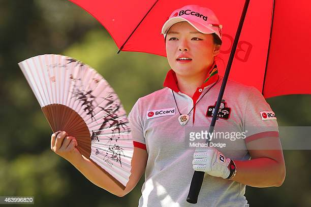 Ha Na Jang of South Korea keeps cool in the heat on the second hole during day three of the LPGA Australian Open at Royal Melbourne Golf Course on...