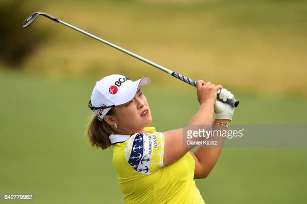 Ha Na Jang of South Korea plays a shot during round four of the ISPS Handa Women's Australian Open at Royal Adelaide Golf Club on February 19 2017 in...
