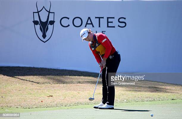 Ha Na Jang of South Korea plays a shot on the 17th hole during the continuation of the second round of the Coates Golf Championship Presented By RL...