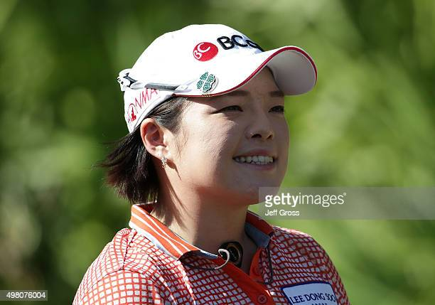 Ha Na Jang of South Korea smiles during the second round of the CME Group Tour Championship at the Tiburon Golf Club on November 20 2015 in Naples...