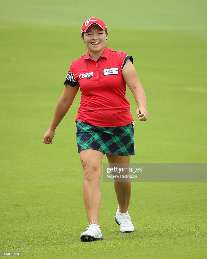 Ha Na Jang of South Korea smiles on the 15th hole during the third round of the HSBC Women's Champions at Sentosa Golf Club on March 5 2016 in...