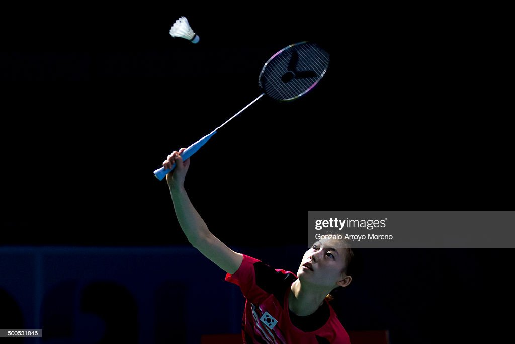 Ha Na Kim of Korea in action in the mixed doubles match agianst Joachim Fischer Nielsen and Christinna Pedersen of Denmark during day one of the BWF Dubai World Superseries 2015 Finals at the Hamdan Sports Complex on on December 9, 2015 in Dubai, United Arab Emirates.