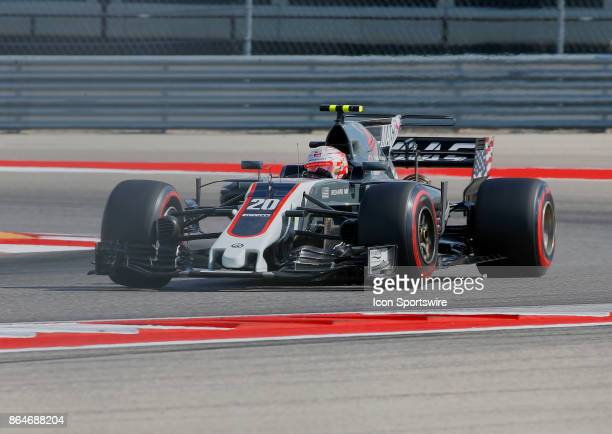 Haas driver Kevin Magnussen of Denmark during third practice session classification for the US Grand Prix at Circuit of The Americas on October 21 in...