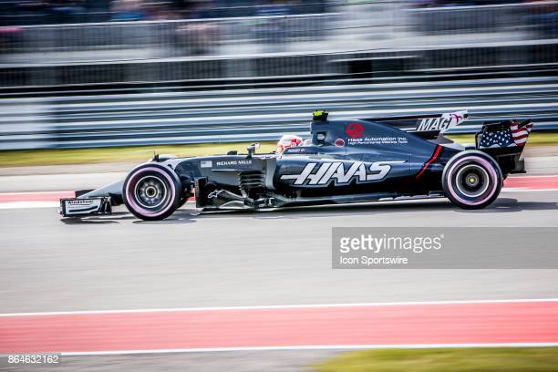 Haas driver Kevin Magnussen of Denmark races through turn 15 during afternoon practice for the Formula 1 United States Grand Prix on October 20 at...
