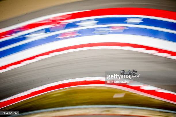 Haas driver Romain Grosjean of France drives through turn 15 during morning practice for the Formula 1 United States Grand Prix on October 20 at the...