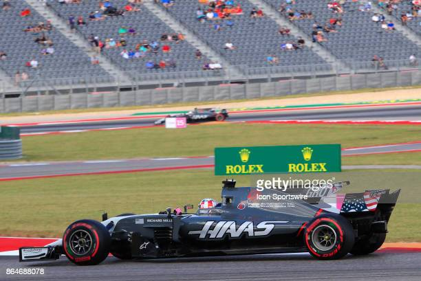 Haas driver Romain Grosjean of France during third practice session classification for the US Grand Prix at Circuit of The Americas on October 21 in...
