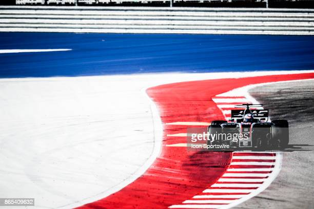 Haas driver Romain Grosjean of France exits turn 12 during the Formula 1 United States Grand Prix on October 22 at the Circuit of the Americas in...