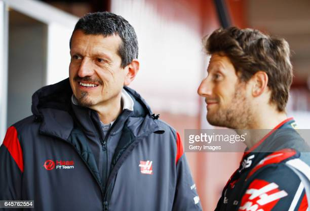 Haas F1 Team Principal Guenther Steiner and Romain Grosjean of France and Haas F1 at the roll out of the HaasFerrari VF17 Ferrari in the Pitlane...