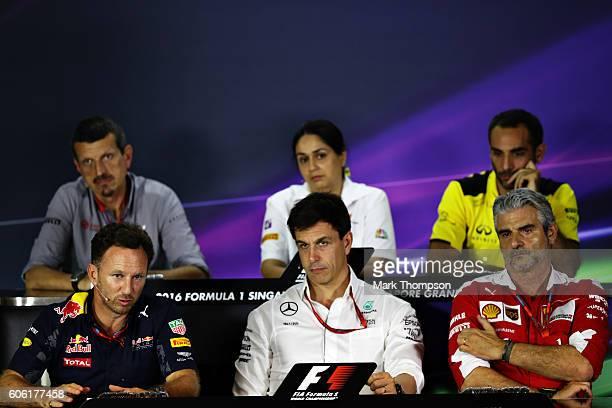 Haas F1 Team Principal Guenther Steiner Sauber Team Principal Monisha Kaltenborn Renault Sport Managing Director Cyril Abiteboul Ferrari Team...