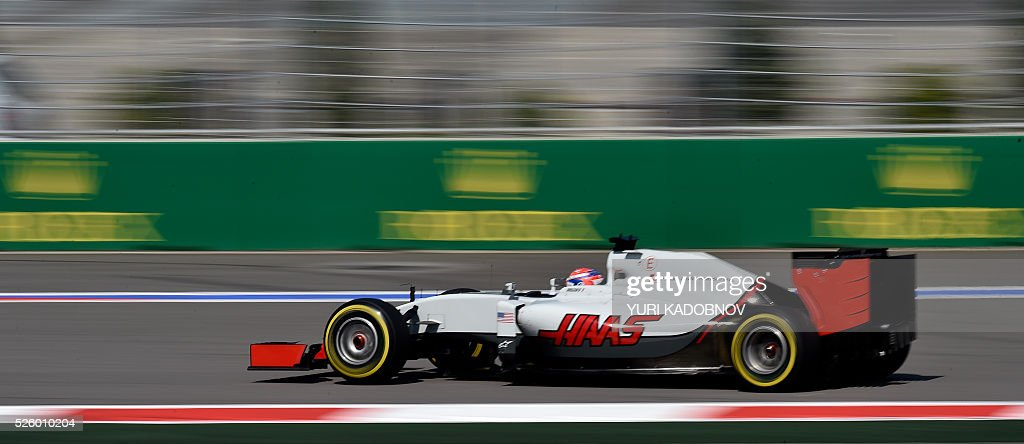 Haas F1 Team's French driver Romain Grosjean steers his car during the second practice session of the Formula One Russian Grand Prix at the Sochi Autodrom circuit on April 29, 2016. / AFP / YURI