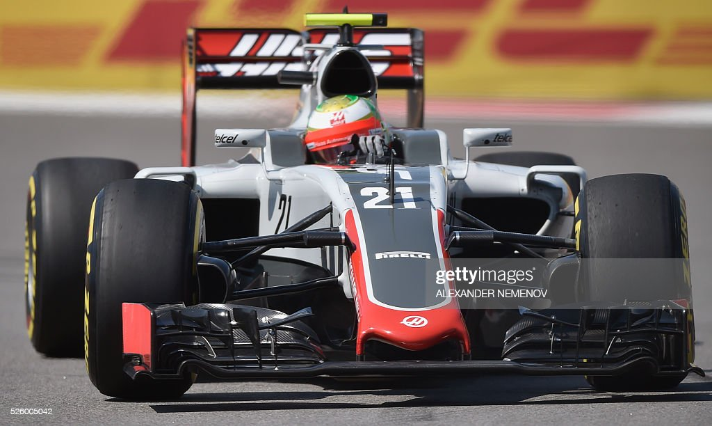 Haas F1 Team's Mexican driver Esteban Gutierrez steers his car during the second practice session of the Formula One Russian Grand Prix at the Sochi Autodrom circuit on April 29, 2016. / AFP / ALEXANDER
