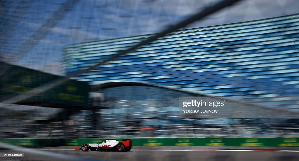 Haas F1 Team's Mexican driver Esteban Gutierrez steers his car during the second practice session of the Formula One Russian Grand Prix at the Sochi Autodrom circuit on April 29, 2016. / AFP / YURI