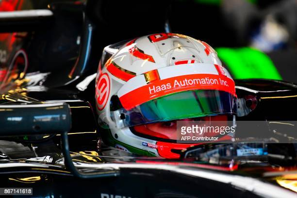 Haas F1's French driver Romain Grosjean is pictured during the first free practice of the F1 Mexico Grand Prix at the Hermanos Rodriguez racetrack in...