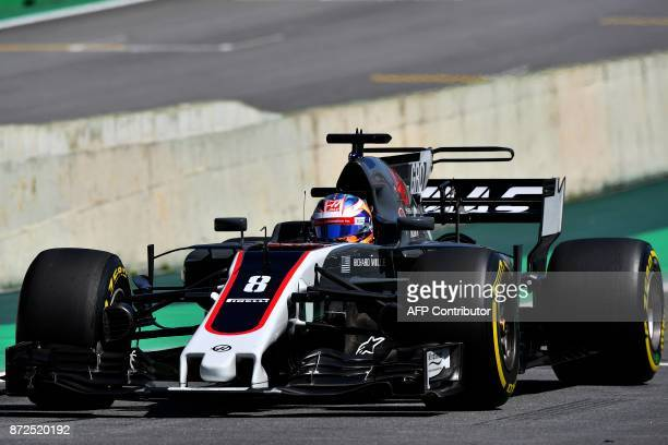Haas F1's French driver Romain Grosjean powers his car during the Brazilian Formula One Grand Prix first practice session at the Interlagos circuit...
