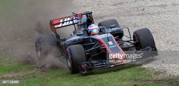 TOPSHOT Haas F1's French driver Romain Grosjean runs off the track during the second practice session at the Formula One Australian Grand Prix in...