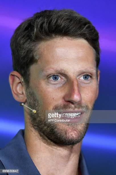 Haas F1's French driver Romain Grosjean speaks during the drivers press conference ahead of the Azerbaijan Grand Prix at the Baku City Circuit in...