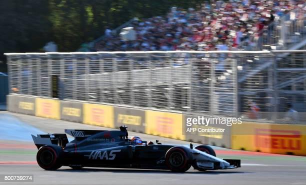 Haas F1's French driver Romain Grosjean steers his car during the Formula One Azerbaijan Grand Prix at the Baku City Circuit in Baku on June 25 2017...